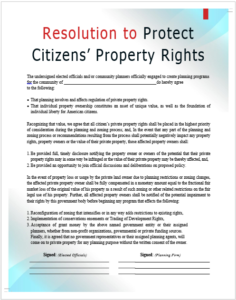 RESOLUTION TO PROTECT CITIZENS' PROPERTY RIGHTS